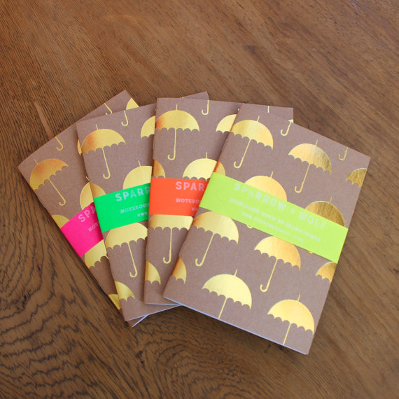 gold umbrella notebook
